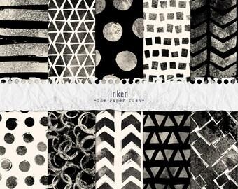 Black Ink Brush Strokes Digital Paper Pack  - 10 Digital Geometric Ink Brush Patterns Layouts - (300dpi 12x12 - JPG) Instant Download