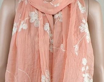 Orange pink cotton scarf, three-dimensional embroidery scarf, cotton scarf, shawl, women decorative accessories