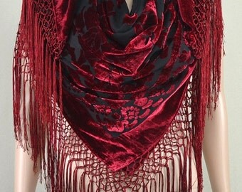 Wine red velvet scarf, high-grade flocking printed pure silk scarves, square hang su shawl