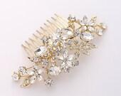 Gold Bridal Comb, Rhinestone Hair Pin, Crystal Bridal Hair Piece, Gold Hair Jewelry, Bridal Headpiece, Wedding Hair Accessory