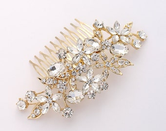 Gold Bridal Comb, Rhinestone Hair Pin, Crystal Gold Bridal Hair Piece, Gold Statement Bridal Headpiece, Wedding Hair Accessory