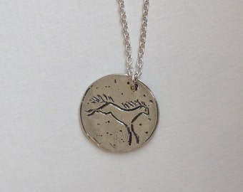 Sterling Silver Happy Horse Necklace | Silver Layering Necklace on Sterling Silver Chain