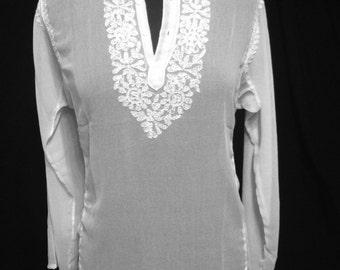 white chiffon tunic top/ hand embroidered chikankari chiffon tunic top/full sleeves chiffon chikankari tunic