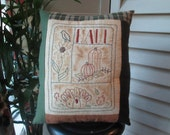 Fall Sampler Decorative Pillow - Hand Embroidered