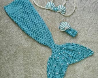 Crochet baby mermaid set. Photo prop