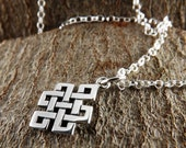 Sterling silver Buddhist charm pendant~buddhist symbol pendant~buddhist charm~symbolic endless knot charm pendant~buddhist charm pendant