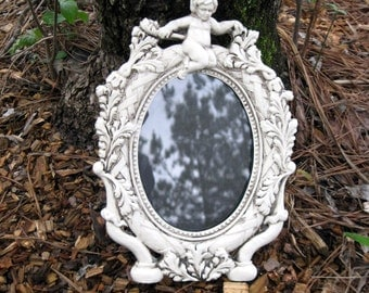 Shabby Chic Ornate Hand Painted and Antiqued White Oval Angel Frame