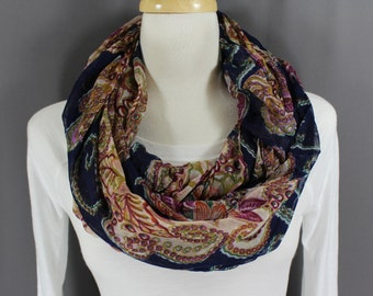Navy Blue paisley floral pattern lightweight gauzy infinity loop cowl long scarf fall autumn dark blue