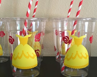 Beauty and the beast party cups, Belle party cups
