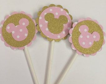 Minnie Pink and Gold Cupcake toppers