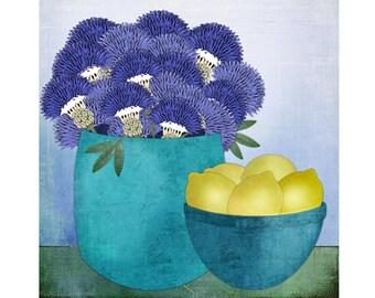 """Giclee Print of Modern Folk Art Still Life, """"Thistles and Lemons"""""""