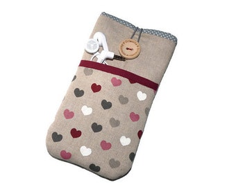 Hearts iPhone 6s case / iPhone 5S Sleeve / iPhone 7 Plus Case / iPhone SE Pouch /  iPod Touch 6g pouch  - Linen hearts pocket