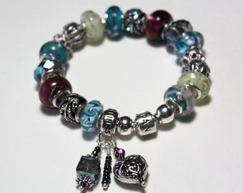 Genuine Pandora Bracelet ~ LOVE LINK ~ with Blue and Purple European Style Beads
