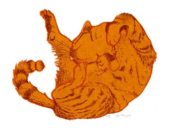 Cat print - ginger cat - ginger cat picture - painting - cat lover - gift