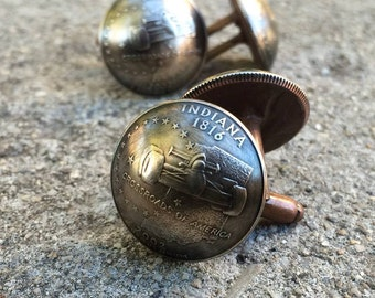 State Quarter Domed Cuff Links Handcrafted Items.  Pick Your State.