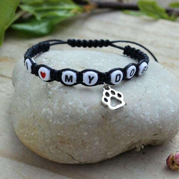 Dog bracelet I love my dog bracelet Pet jewelry Pet