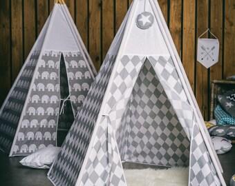 Teepee - Gray Rhombus/White top