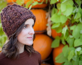 Chunky Cable Knit Hat Beanie Toque Chestnut