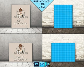 8x10 #F05 Portrait & Landscape Stretched Canvas on Wooden Floors, 4 Canvas Display Mockup,  PNG PSD PSE, Custom colors, 16x20 24x30