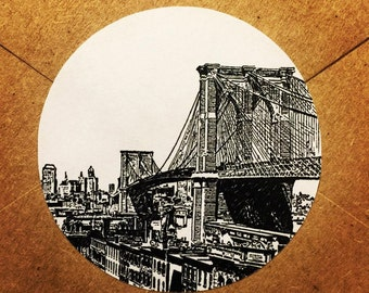 Envelope Seals / Stickers - Brooklyn Bridge Qty: 30 Stickers