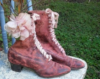 Victorian leather Boots/Display only/Shabby Chic/Millinery Flower/Silk Ties