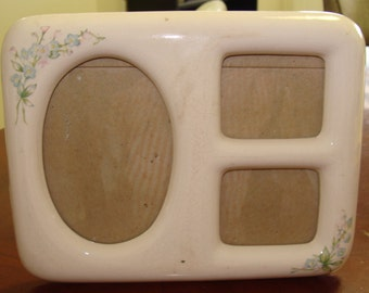 Vintage Ceramic Picture Frame/Shabby Chic/Flowers