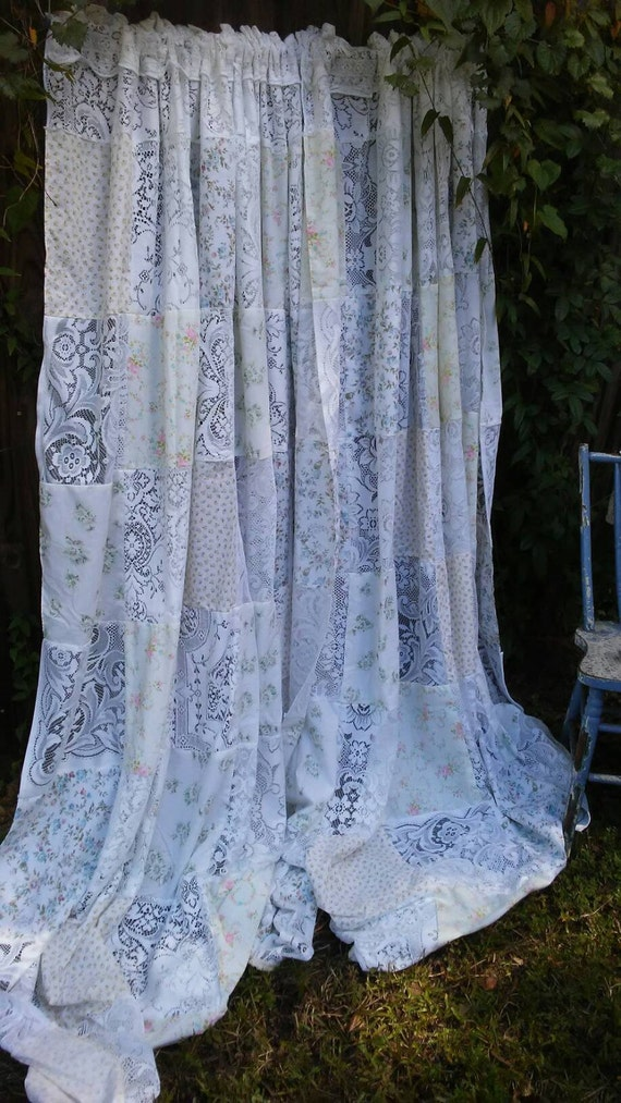 Beautiful one of a kind shabby chic window curtains vintage Shabby chic curtain window