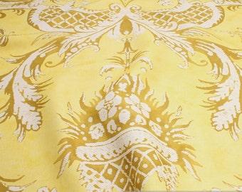 Fabric pure linen yellow ornament
