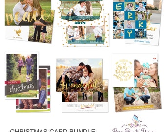 Christmas Card Bundle of Photoshop Templates - 5x7 Digital Photography Photoshop Files - Templates for Photographers - CCB05