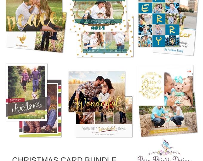 Christmas Card Bundle of Photoshop Templates - 5x7 Digital Photography Photoshop Files - Templates for Photographers - CCB05