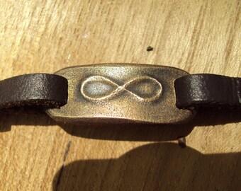 FREE SHIPPING In USA Mens Leather Bracelet, Mens Personalized Bracelet, Leather Infinity Bracelet, Bronze Anniversary Bracelet Gift For Men
