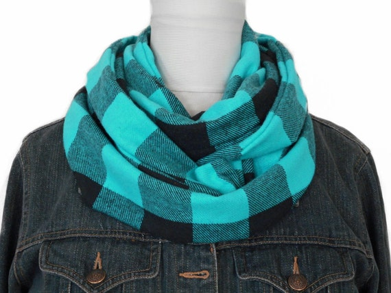 Buffalo Plaid Scarf Infinity Turquoise Brown By