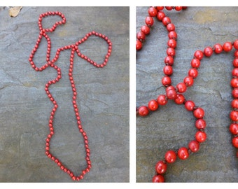 60 Inch Bead Necklace Hand Knotted- Red Long Beaded Necklace