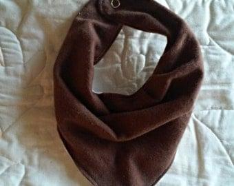 Brown bandana bib , drool bib , baby shower gift, cowl bib, scarf bib, baby accessories, snap closure bib