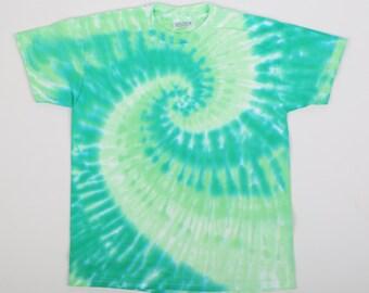 OOAK Hand Made, Size Youth Medium 10-12, Tie Dye Spiral, 100% Preshrunk Cotton, Beefy Weight, Short Sleeve, Greens.