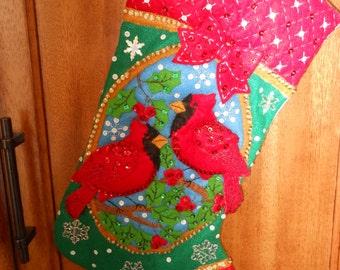 Bucilla Cardinals 18in long finished Christmas Stocking