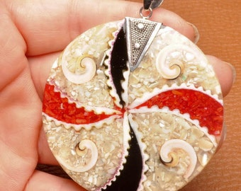 Colorful Shell sterling silver pendant  (#J1398)