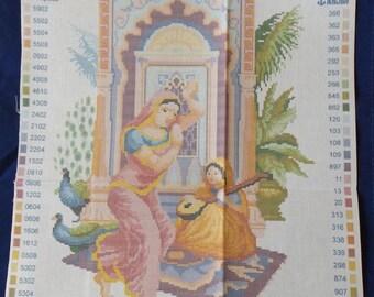 Printed Aida cotton canvas for cross stitch - Turkish woman (#321)