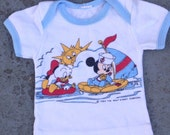 Vintage Disney Shirt 3-6 Months Featuring Baby Mickey and Baby Donald