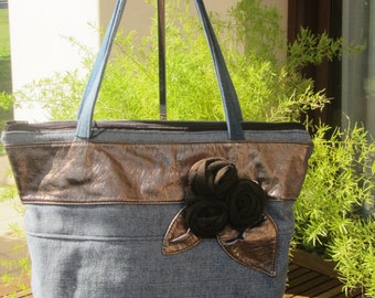 jeans bag - recycled jeans - tote bag - shoulder bag - textile roses - zipped bag - blue jeans, chocolate brown