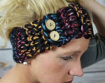 Colorful Crochet Headwarmer, Crochet Headwrap, Knit Earwarmer, Crochet Headband Ear Warmer - Black with multiple color accents