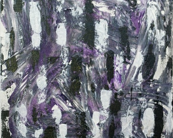 Small Abstract Acrylic Painting Textured Painting White Painting Black Painting Purple Painting Modern Art Contemporary