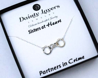 Partners in Crime Necklace / Handcuff Necklace / Frienship Necklace / Best Friend Necklace / BFF Necklace / Best Bitches Necklace / Silver