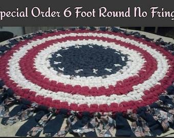 6 Foot Round Patriotic Rag Rug no Fringe