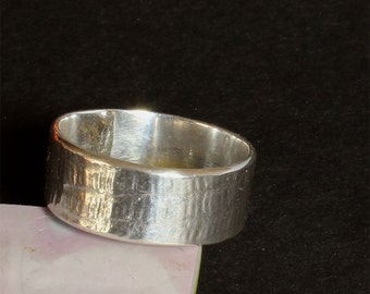 Silver Ring - Silver Band  - Textured Silver Ring - Handmade OOAK -Women's Ring - Men's Ring