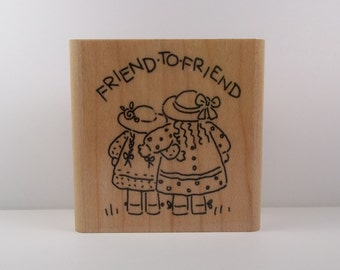Stampin' Up! FRIEND TO FRIEND Wood Mounted Rubber Stamp from Nice N' Easy Notes Set, Hello, Miss You, Best Friends, Girlfriends