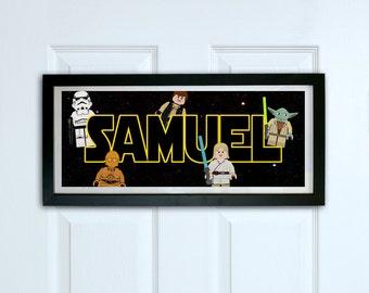 Personalised door sign print - Lego Star Wars door sign - Kids Bedroom door sign, Personalized name sign, Nursery decor, door decoration