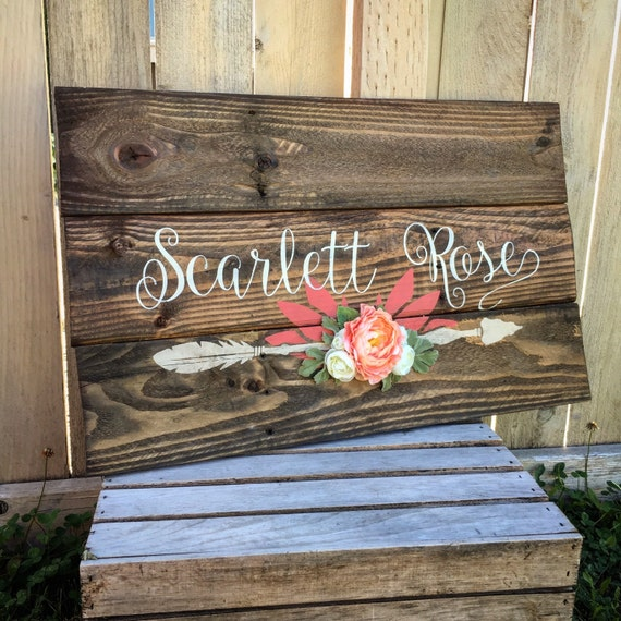 Rustic large 26x16 nursery name arrow and flowers for Signs for little girl rooms