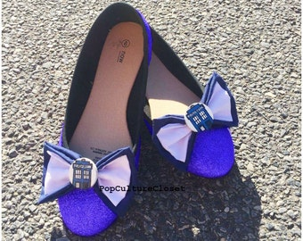 Cute Handpainted Sparkly Dr Who ballet flats shoes
