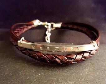 Mens Leather Bracelet, Men's Sterling Silver Bracelet,  4mm & 5mm Leather Bracelet, Leather Anniversary Gift for Him, Custom Leather